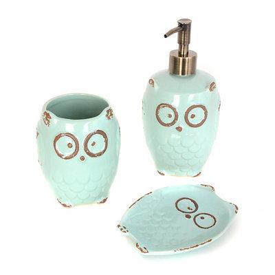 Kirklands turquoise owl 3 piece bath accessory set for Turquoise bathroom set