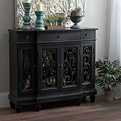 Prescott Black Open Scroll Cabinet