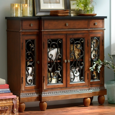 Prescott Mahogany Open Scroll Cabinet