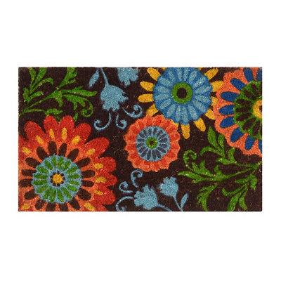 Chocolate Floral Coir Doormat