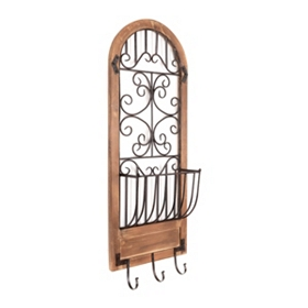Hook & Basket Arched Wall Plaque