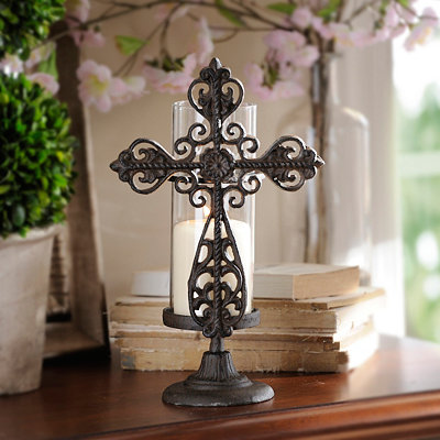 Cast Iron Cross Candle Holder, 12.5 in.