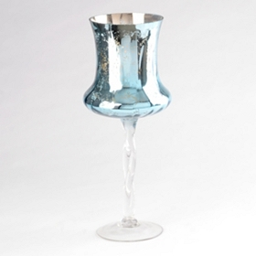 Blue Mercury Glass Stemmed Hurricane, 16 in.