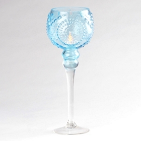 Blue Glass Medallion Stemmed Hurricane, 14 in.