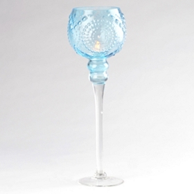 Blue Glass Medallion Stemmed Hurricane, 16 in.