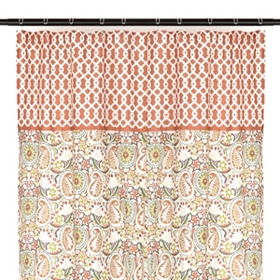 Geo Paisley Print Shower Curtain
