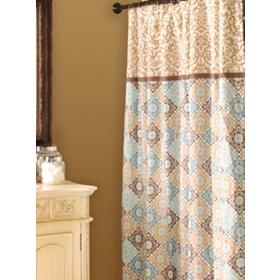 Tan & Blue Medallion Print Shower Curtain