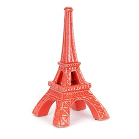 Red Eiffel Tower Stoneware Statue