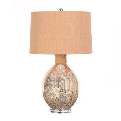 Natural Burlap Mercury Glass Lamp