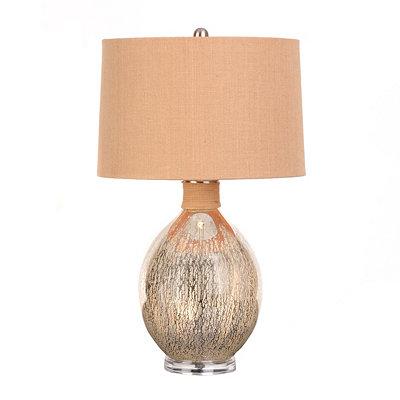 Natural Burlap Mercury Glass Lamp