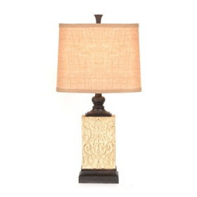 Embossed Cream Table Lamp