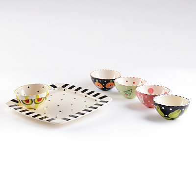 Chip & Dip Ceramic Plate & Bowl Set
