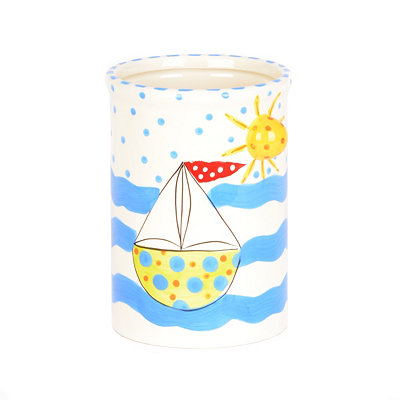 Hand Painted Sailboat Crock