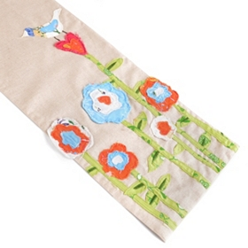 Embroidered Flower & Bird Table Runner