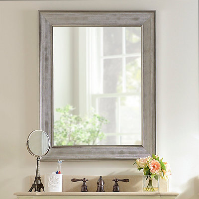 Silver Grid Framed Mirror, 29x35 in.
