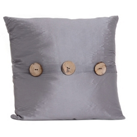 Gray Porter Button Pillow, 20 in.
