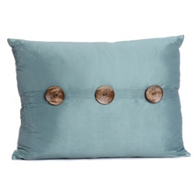 Aqua Porter Button Oblong Pillow