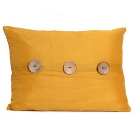 Yellow Porter Button Oblong Pillow