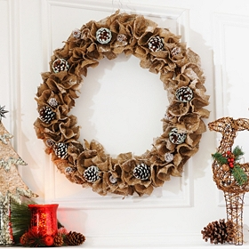 Ruffled Burlap & Pine Cone Wreath