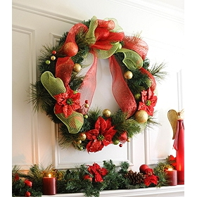 Poinsettia Ribbon Wreath, 36 in.