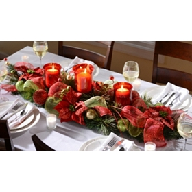 Poinsettia & Ribbon Centerpiece