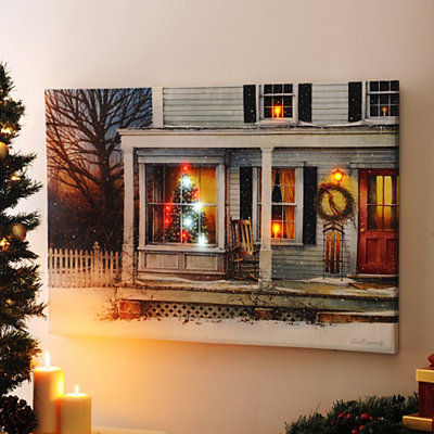 Home for the Holidays LED Canvas Art Print