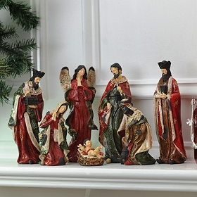 Painted Resin Nativity, Set of 7