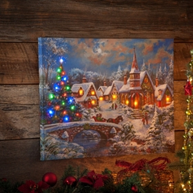Christmas Eve Town LED Canvas Art Print