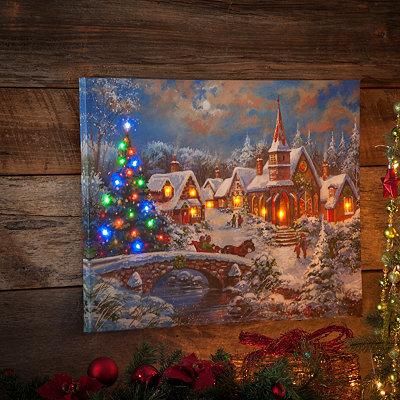 Kirklands Christmas Eve Town Led Canvas Art Print
