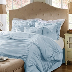 Ruched Blue Fog 7-pc. King Comforter Set