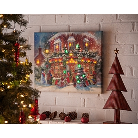 Christmas Toy Shop LED Canvas Art Print