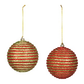 Red & Green Raised Stripe Ornament