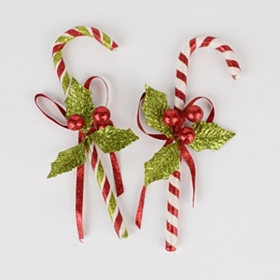 Glitzy Candy Cane Ornaments