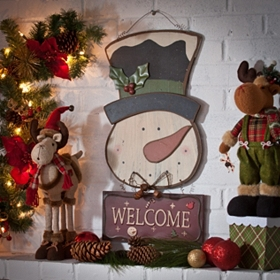 Wooden Snowman Welcome Sign