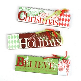 Wooden Season's Greetings Wall Signs