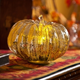 Silver Pre-Lit Mercury Glass Pumpkin, 6 in.