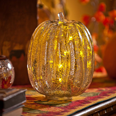 Silver Pre-Lit Mercury Glass Pumpkin, 8.5 in.