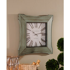 Distressed Blue Butterfly Clock
