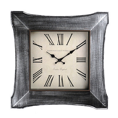 Distressed Silver Butterfly Clock