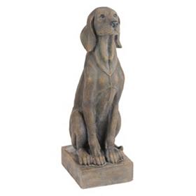 Sitting Dog Aged Stone Statue