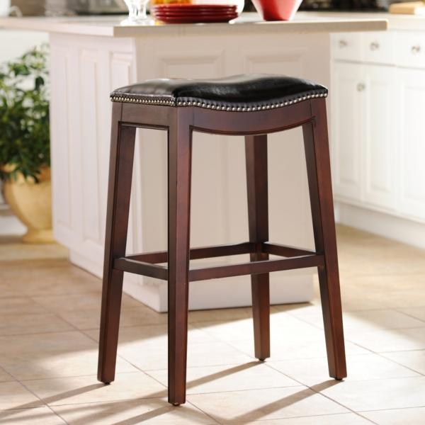 everitt brown leather bar stool