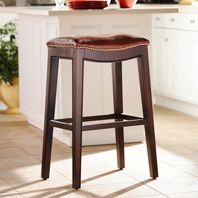 Everitt Cognac Leather Bar Stool