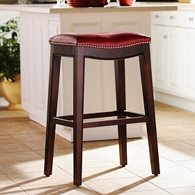 Everitt Red Leather Bar Stool