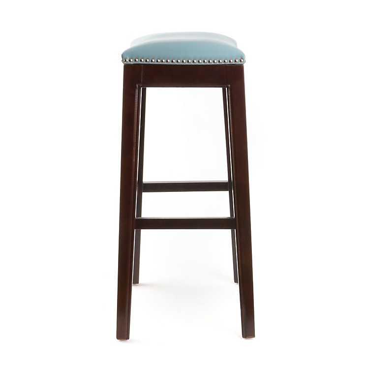 Everitt Blue Leather Bar Stool Kirklands : 1192653tProduct from t.kirklands.com size 750 x 750 jpeg 25kB