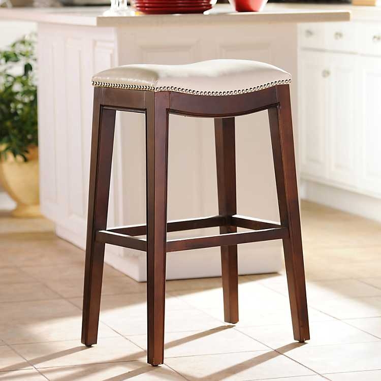 Everitt Ivory Leather Bar Stool Kirklands