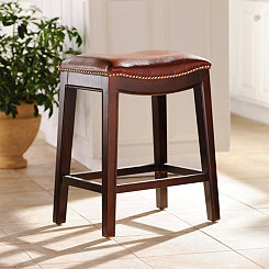 Everitt Cognac Leather Counter Stool