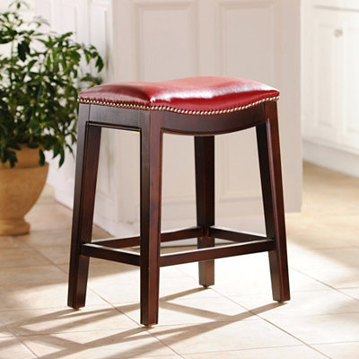Everitt Red Leather Counter Stool
