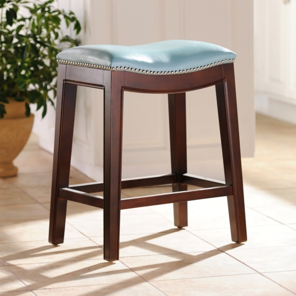 everitt blue leather counter stool
