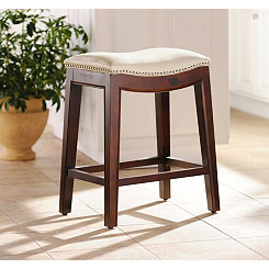 Everitt Ivory Leather Counter Stool
