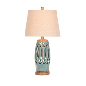 Turquoise Cutout Ceramic Table Lamp